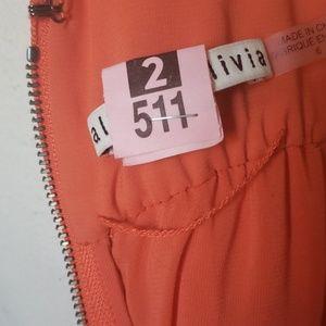 Alice + Olivia Orange Pleated Dress